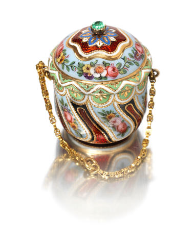 "A mid-19th century Swiss enamelled gold ""Turkish Market"" vinaigrette unmarked,"