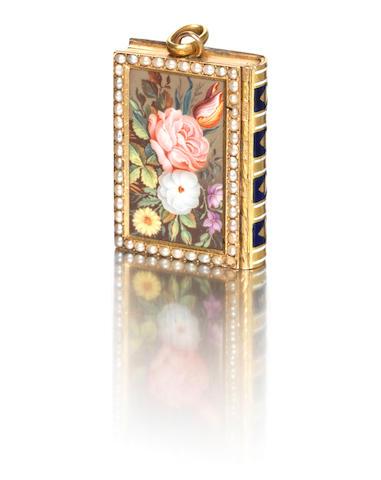 A 19th century Swiss pearl-set enamelled gold novelty 'book' vinaigrette Jean-George Rémond & Cie/Rémond Lamy, Mercier & Cie, Geneva 1807-15