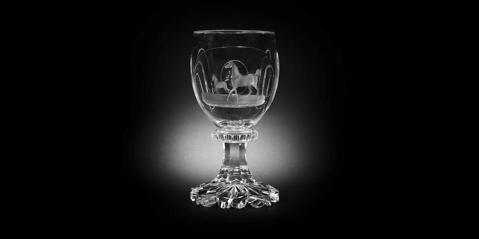 A North Bohemian (Harrachsdorf) engraved goblet by Dominik Biemann, Franzensbad, circa 1830-35