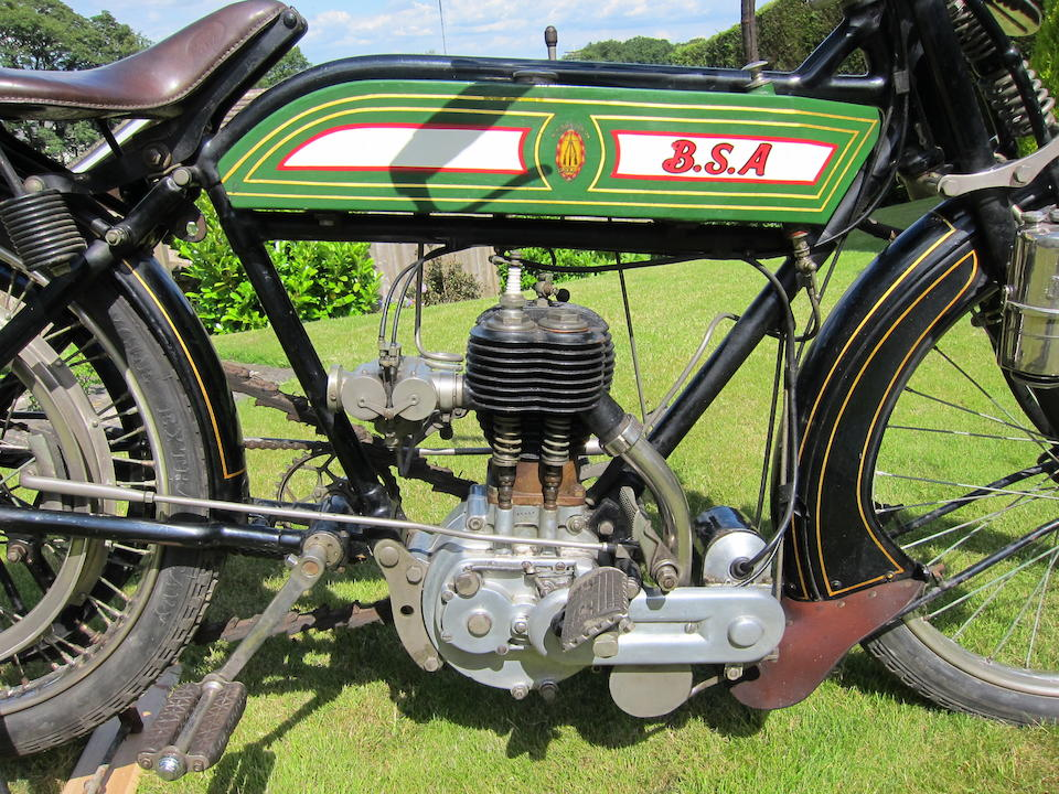 Single family ownership since 1958; previously owned and restored by ex-VMCC President Walter Green,1913 BSA 4¼hp (see text) Frame no. 4317 (not visible) Engine no. 16438