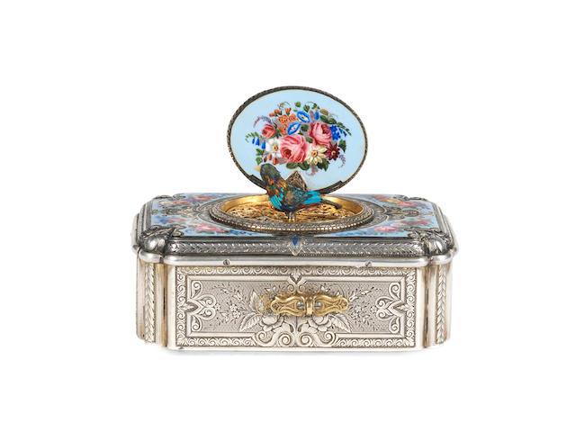 A Charles Bruguier silver and enamel singing bird box Swiss, circa 1830,