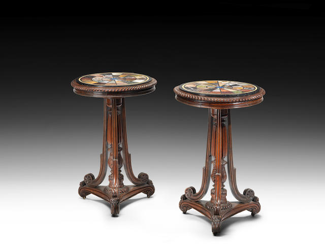 A pair of George IV carved rosewood and specimen marble occasional tables attributed to Gillows