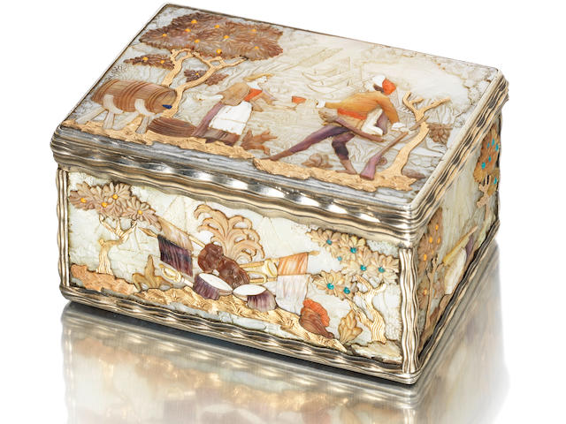 A Louis XV gold, harsdtone, abalone, mother of pearl and silver-gilt mounted snuff box By Antoine Daroux, Paris 1747