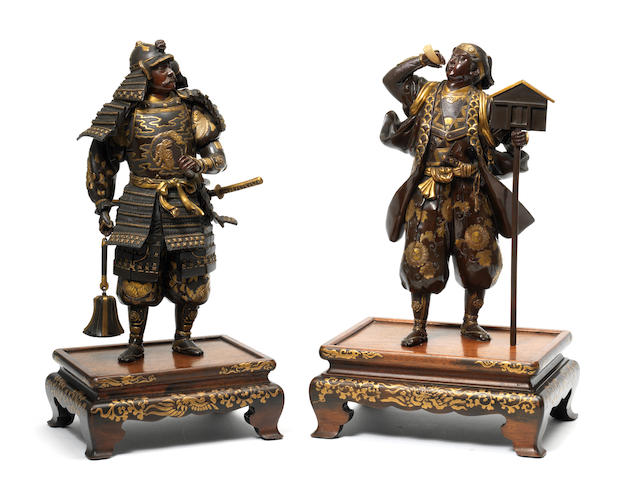 A pair of gilt-bronze samurai warriors  By Miyao Eisuke of Yokohama, Meiji Period (3)