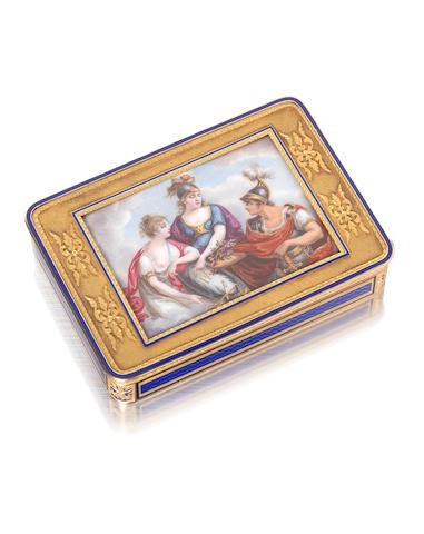An early 19th century Swiss  gold and enamelled  snuff box by Sebastian Chaligny,  Geneva circa 1815