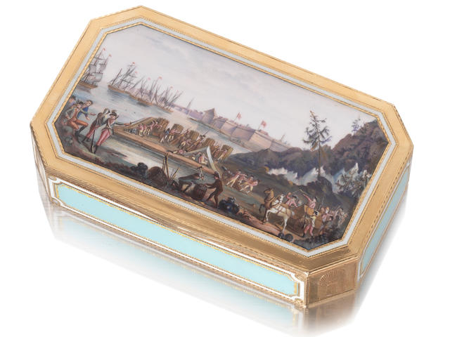 A rare early 19th century Swiss   gold and enamelled snuff box by Guidon, Rémond & Co, Geneva, circa 1805