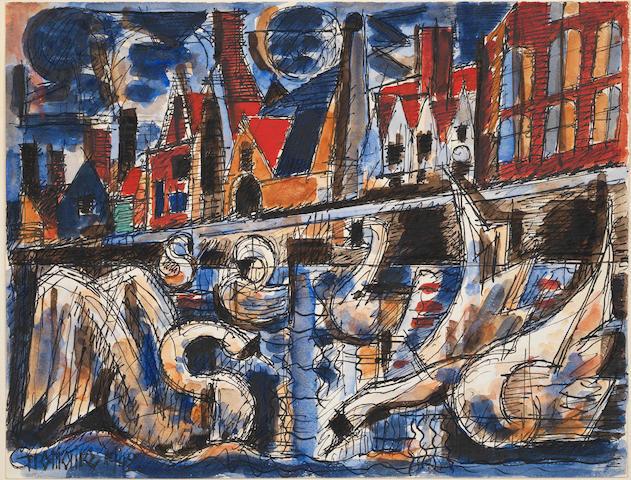 Marcel Gromaire (French, 1872-1971) Vue d'un quai, Amsterdam