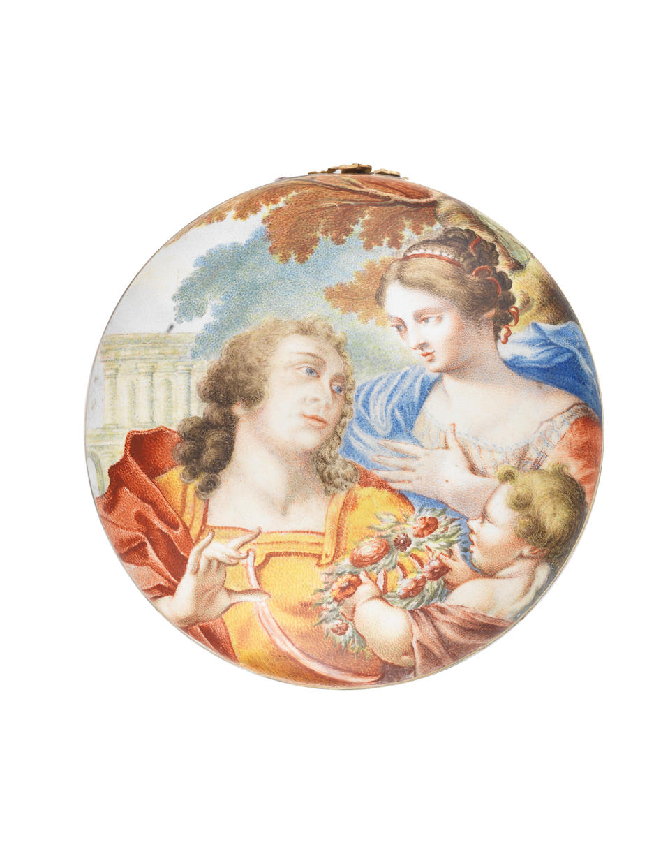 """A 17th and 18th century enamel and gold mounted """"watch case"""" snuff box the watch case circa 1650, the gold mount circa 1740"""