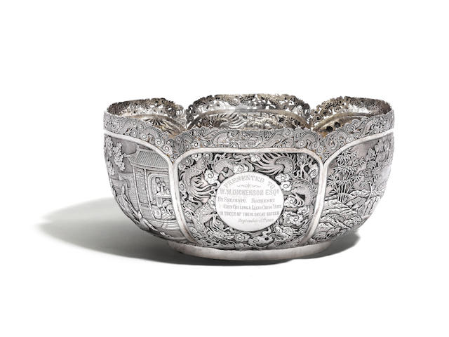 An impressive Chinese silver punch bowl, maker's mark unrecorded, O reverse S or reverse S O circa 1900