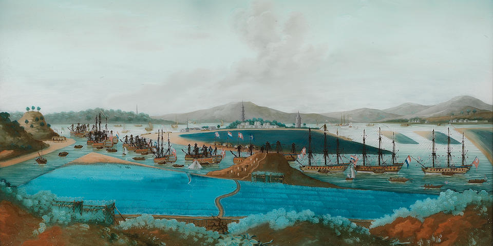 A reverse glass painting of Whampoa Anchorage 19th century