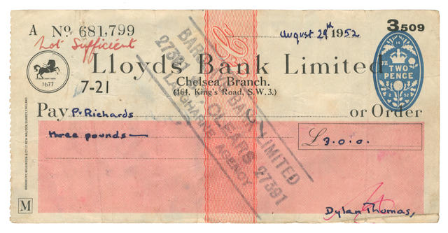 """THOMAS (DYLAN) Two autograph cheques signed (""""Dylan Thomas""""), 29 August 1952 and 30 August 1953 - TWO BOUNCED CHEQUES FROM DYLAN THOMAS TO HIS PUB LANDLORD AT LAUGHARNE"""
