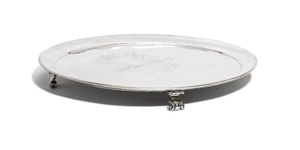 An important late 18th century Maltese silver presentation salver by Meli Saverio, Rohan Period 1775 - 1797,