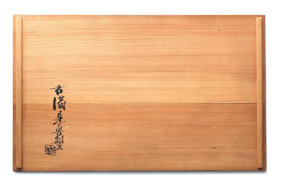 Shibata Zeshin 柴田是真 (1807-1891) PANEL WITH DESIGN OF FARMHOUSE IN THE SNOW AT SANO 雪中佐野(「鉢の木」)図蒔絵額面 Meiji era (1868–1912), 1883 (4)