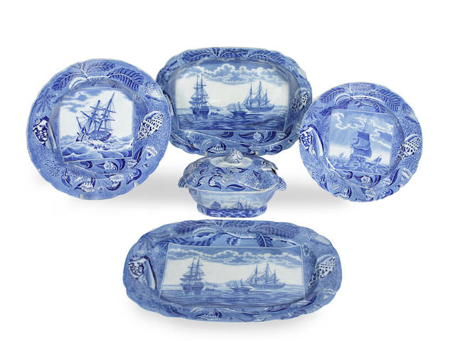 A Staffordshire blue and white 'Shipping Series' part dinner service, circa 1815-20