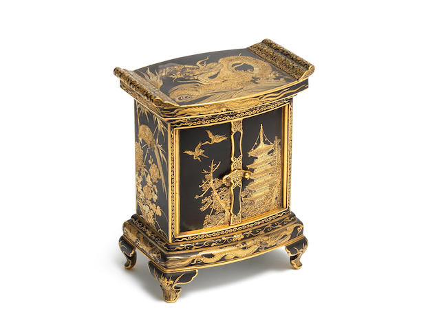 An inlaid iron rectangular miniature cabinet Komai style, Meiji Period