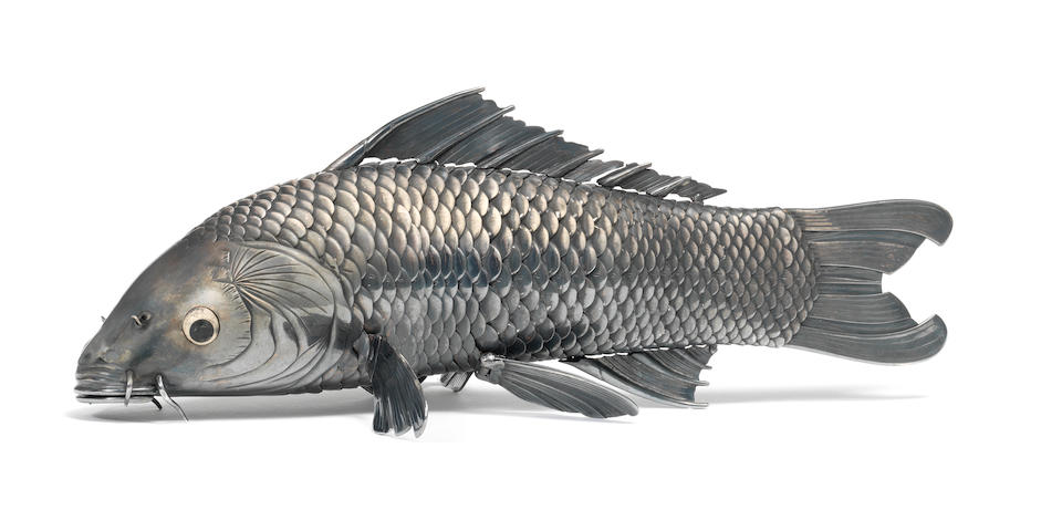 A remarkable and fine-quality silver articulated carp By Takase Torakichi (Kozan, 1869-1934), of Kanazawa, Meiji/Taisho Period (3)