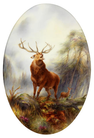 A very fine Royal Worcester plaque by Harry Davis, dated 1908