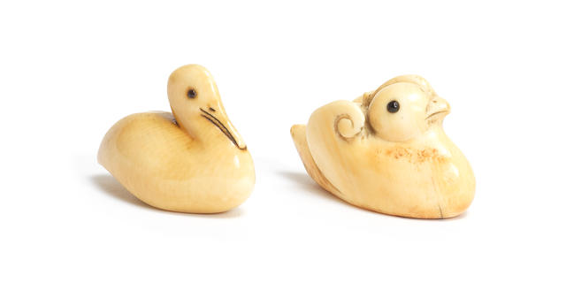 Two ivory netsuke of aquatic birds Mid and late 19th century (2)