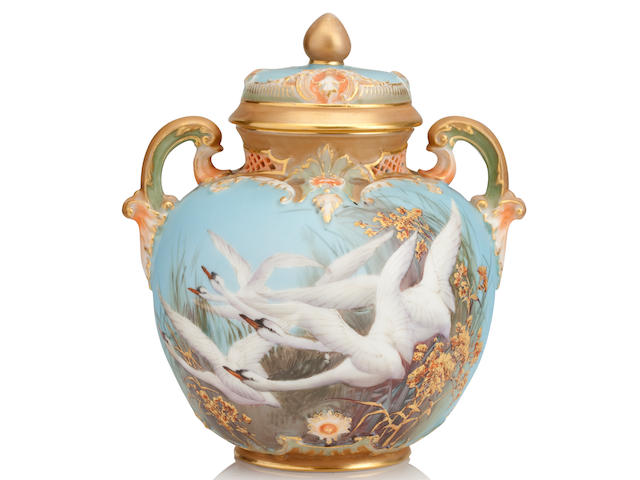 A Royal Worcester twin handled vase and cover by Charles Baldwyn Dated 1905