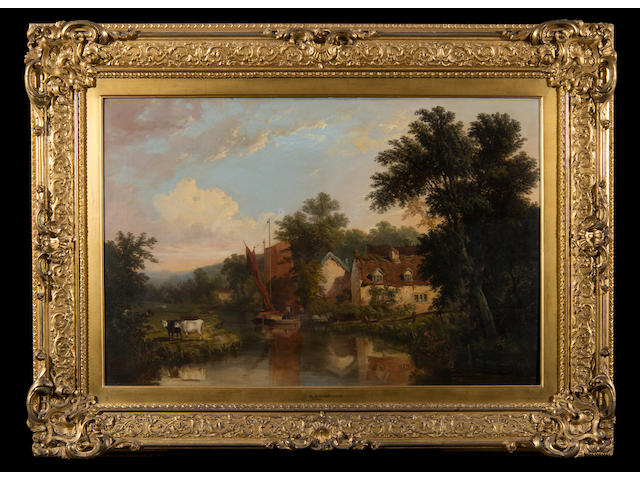 John Berney Ladbrooke (British, 1803-1879) River scene with figures, wherry and cattle, Norwich castle on the horizon (Housed within a period gilt gesso frame by S. T. Townshend of Norwich.)