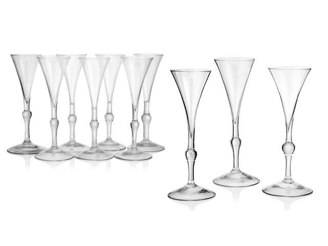 A set of ten baluster wine glasses Circa 1740