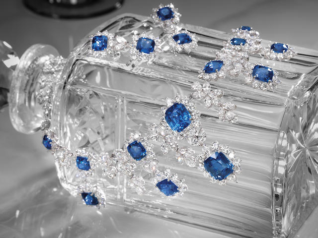 A MAGNIFICENT SAPPHIRE AND DIAMOND 'AMELIA' NECKLACE AND EARRING SUITE,  BY MARINA B (2)