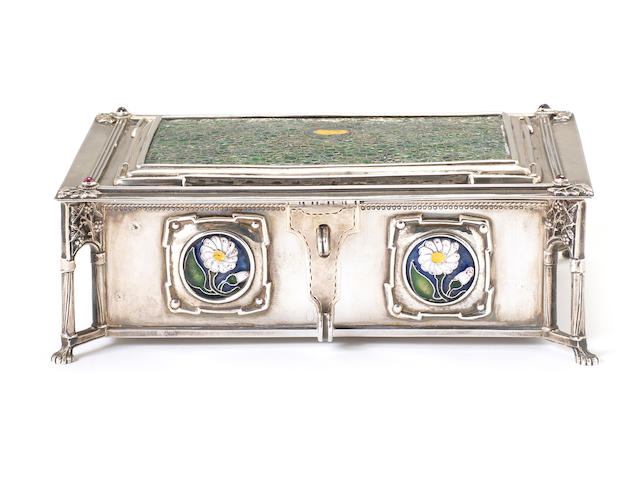 The Artificier's Guild, attributed to Edward Spencer (1873-1938) and Nelson Dawson (1859-1942) A Fine Silver and Enamel Casket, 1901-3