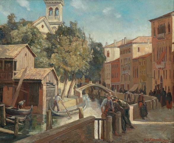Charles Cundall R.A. (British, 1890-1971) Rio San Trovaco, Venice
