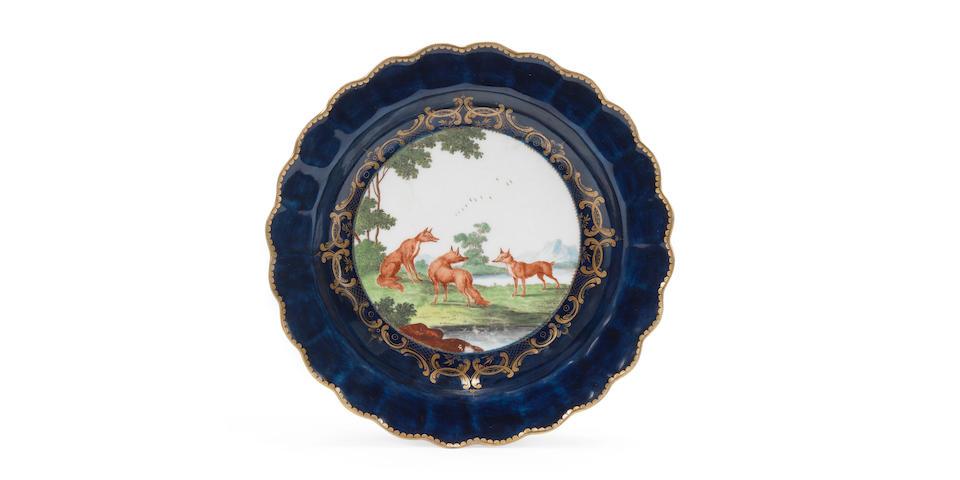 A fine Worcester plate by Jefferyes Hammett O'Neale, circa 1768-70