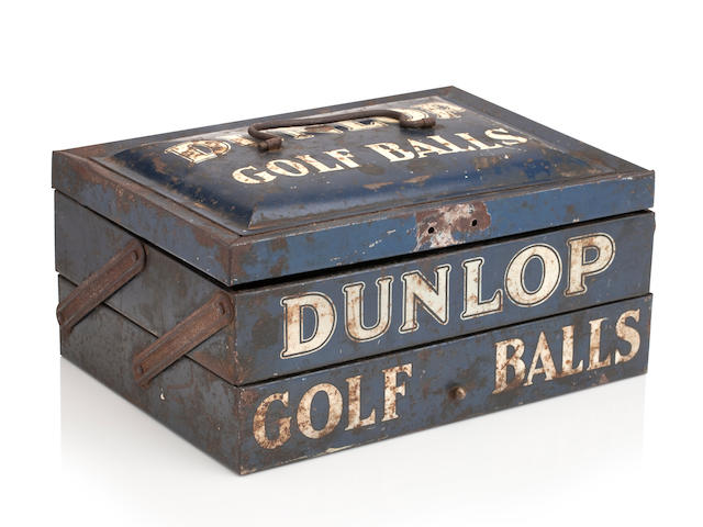 A dark blue metal two tier Dunlop Golf Ball dispenser tinCirca 1910's