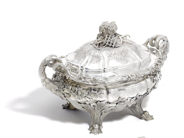 A fine pair of William IV silver soup tureens and covers by Edward, Edward Jnr, John and William Barnard, London 1830, (2)
