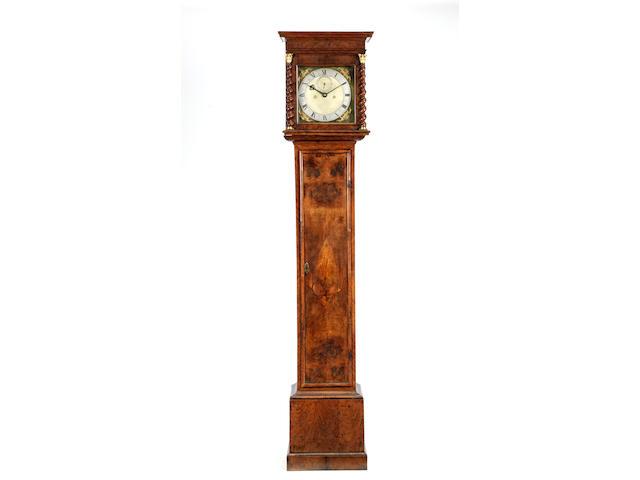 A late 17th century walnut longcase clock with ten inch dial Edward East, London