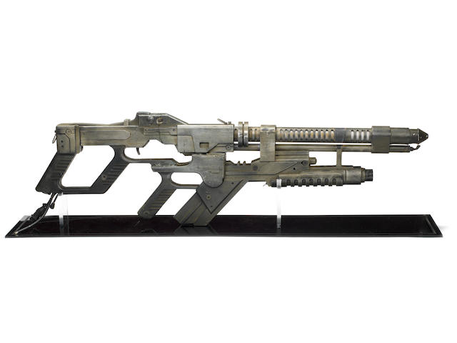 Alien Resurrection: A hero prop AR-2 Flame Thrower made for Sigourney Weaver as Ellen Ripley, Twentieth Century Fox, 1997,