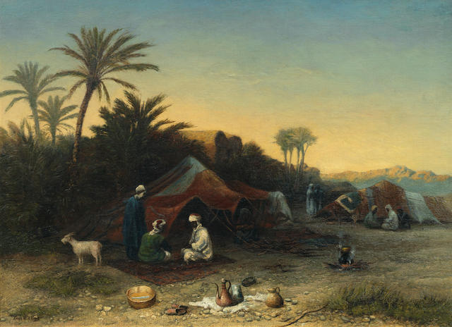 Paul H. Ellis (British, Exh. 1871-1908) 'Sundown. Arab Card Players, Southern Tunisia'