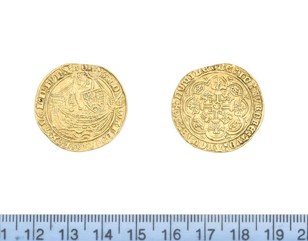 Edward III, (1327-77) fourth coinage (1351-77), treaty period (1361-69), Half Noble, 3.83g, London, king standing facing in ship, holding sword and shield, saltire before EDWARD,