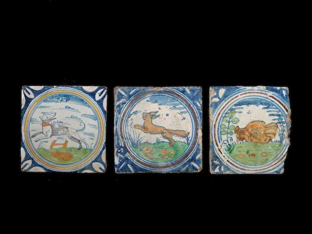 Three early London Delftware paving tiles, circa 1590-1620