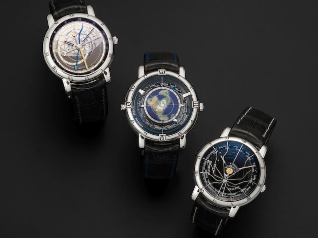 Ulysse Nardin. A fine and rare trilogy set of platinum limited edition automatic astronomical wristwatches Comprising: Astrolabium Gallileo Galilei, Tellurium Johannes Kepler and Planetarium Copernicus, all No.17/100