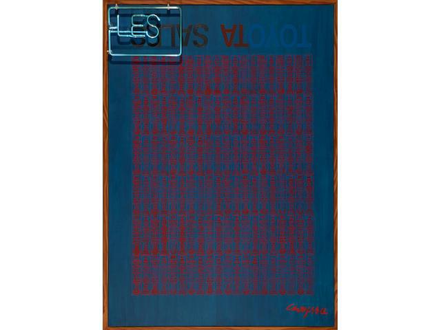 Chryssa  (Vardea) (Greek, 1933-2013) Les Toyota sales 133.5 x 94.5 x 17 cm.