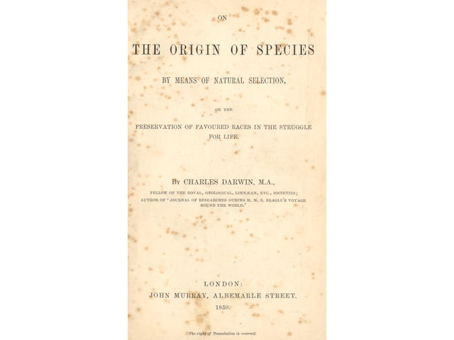 DARWIN (CHARLES) On the Origin of Species by Means of Natural Selection, first edition, John Murray, 1859; sold not subject to return