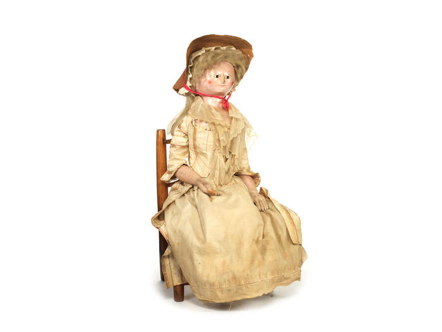 Large early English carved wooden doll circa 1800