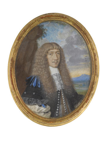 Continental School, circa 1660 A Gentleman, standing in a landscape and wearing black coat with black and blue ribbon to his billowing sleeve, white chemise and lawn collar finished with lace, his natural wig falling in curls over his shoulders
