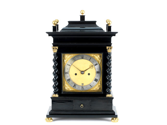 A fine and rare 17th century Dutch striking ebony turntable clock Johannes Fromanteel, Londini Fecit
