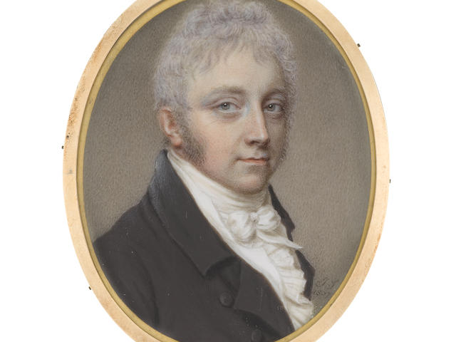 John Smart (British, 1742-1811) A Gentleman traditionally identified as Richard Lovell Edgeworth, MP (1744-1817), wearing brown coat, white waistcoat, frilled chemise, stock and tied cravat, his hair lightly powdered