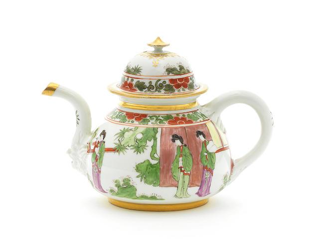 A very rare Meissen teapot and cover, circa 1725-30
