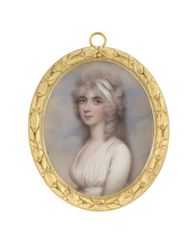Henry Bone, R.A. (British, 1755-1834), after Andrew Plimer (British, 1763-1837) Harriet Cockerell née Rushout (d.1851), wearing white dress and white bandeau in her powdered hair