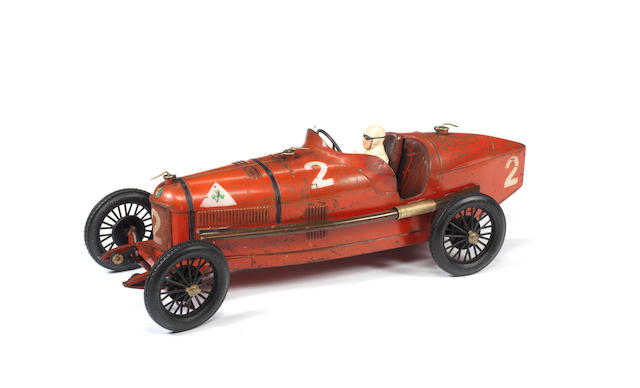 CIJ tinplate c/w P2 Alfa Romeo Racing car, French circa 1935