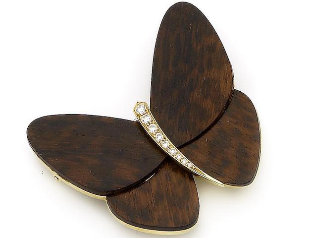A diamond-set butterfly brooch, by Van Cleef & Arpels