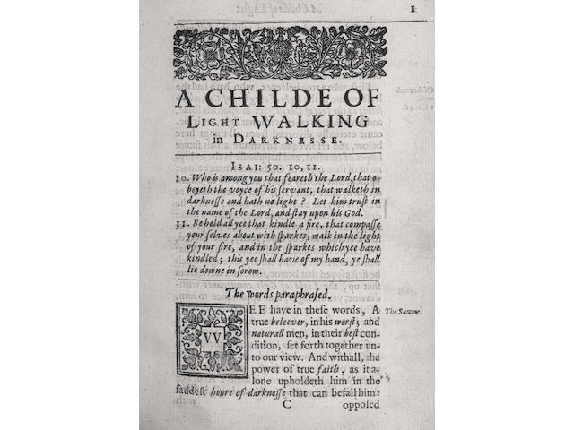 GOODWIN (THOMAS) A Childe of Light Walking in Darknes, 1638; The Returne of Prayers, 1636; Aggravation of Sinne: And Sinning, Aggravation of Sinning Against Mercie, 1637; The Vanity of Thoughts Discovered, 1638, 5 works in 1 vol.----[BLOUNT (THOMAS)] Glossographia: Or, A Dictionary Interpreting the Hard Words... The Fourth Edition, with many Additions, 1674; and 21 others (23)