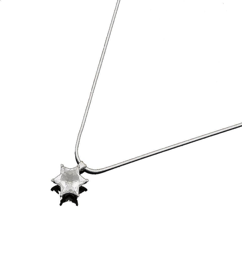 A diamond star pendant necklace