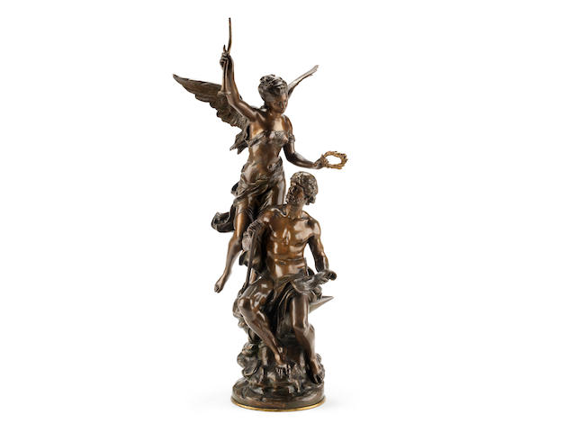 Mathurin Moreau, French (1822-1912)A bronze allegorial figural group of Victory crowning Industry